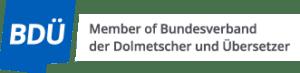 Logotipo de la asociación profesional de traductores BDÜ