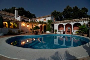 Spanish country house at night