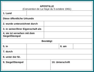 Apostille gemäß Haager Übereinkommen von 1961